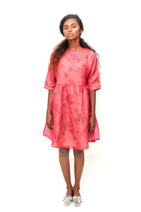 Raglan dress in pink Kota cotton with floral mul underlay - URU THE STORE