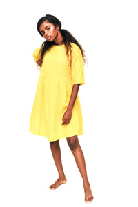Raglan dress in yellow honeycomb weave cotton. - URU THE STORE