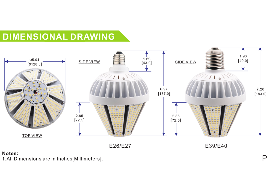 60W LED Corn Light Bulb Milky Cover E39 Mogul Base 5000K