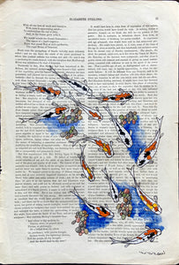 "Koi Swimming off the Page 8""w X 12""h"