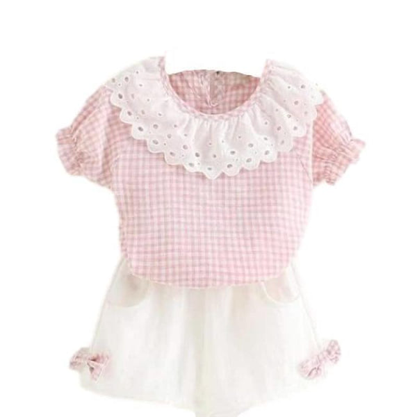 Affordable Baby Boutique Fashion Pink Gingham 2 Pc Outfit White Shorts Set | baby girl toddler set