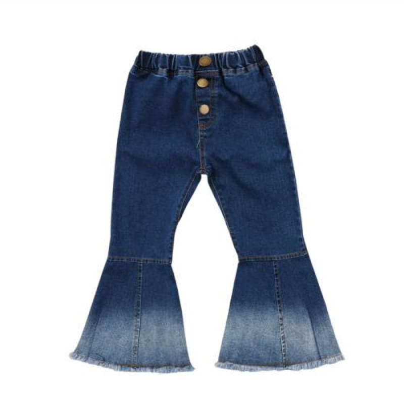 Baby Boutique Affordable Fashion Toddler Dark Wash Bell Bottoms Denim Jeans | Toddler Bell Bottom Pants