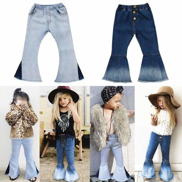 Baby Boutique Affordable Fashion Toddler Faded Bell Bottoms Denim Jeans | Toddler Bell Bottom Pants