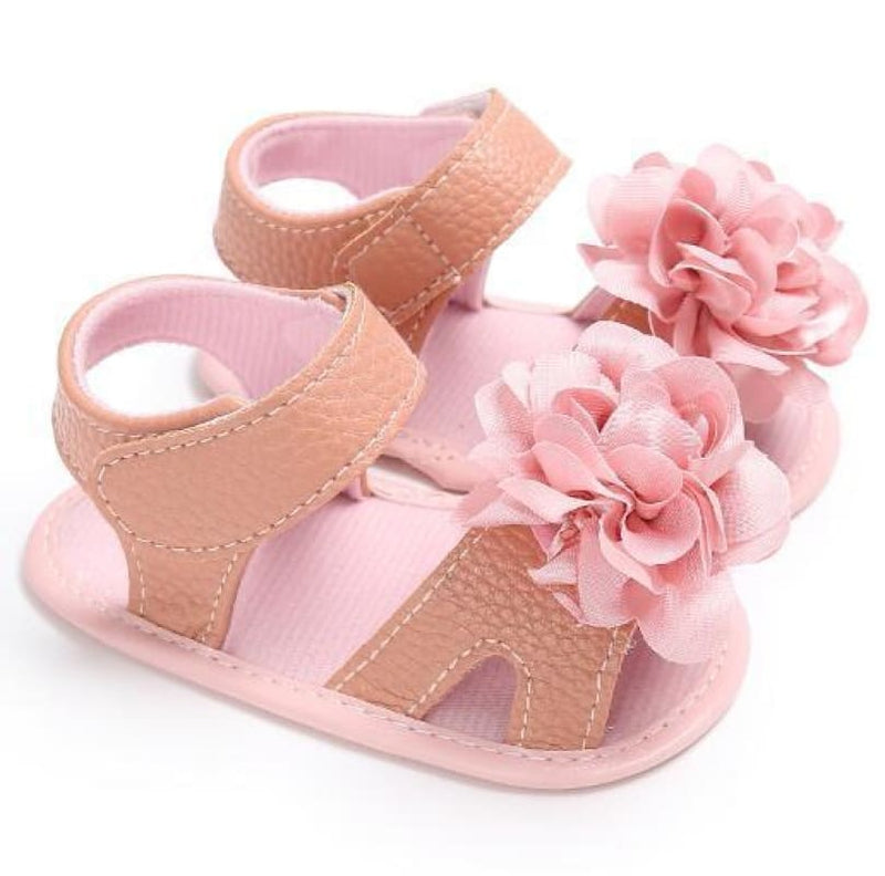 Baby Boutique Blush Pink Floral Infant Sandal | baby girl sandal
