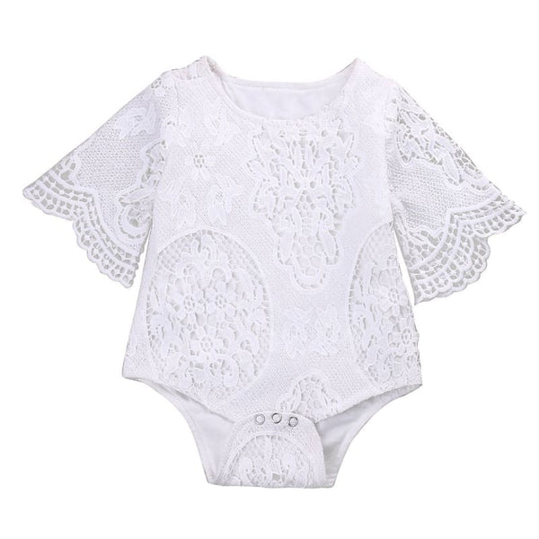 Baby Boutique Boho White Crochet Lace Baby Romper One Piece with Bell Sleeves | baby girl romper onesie