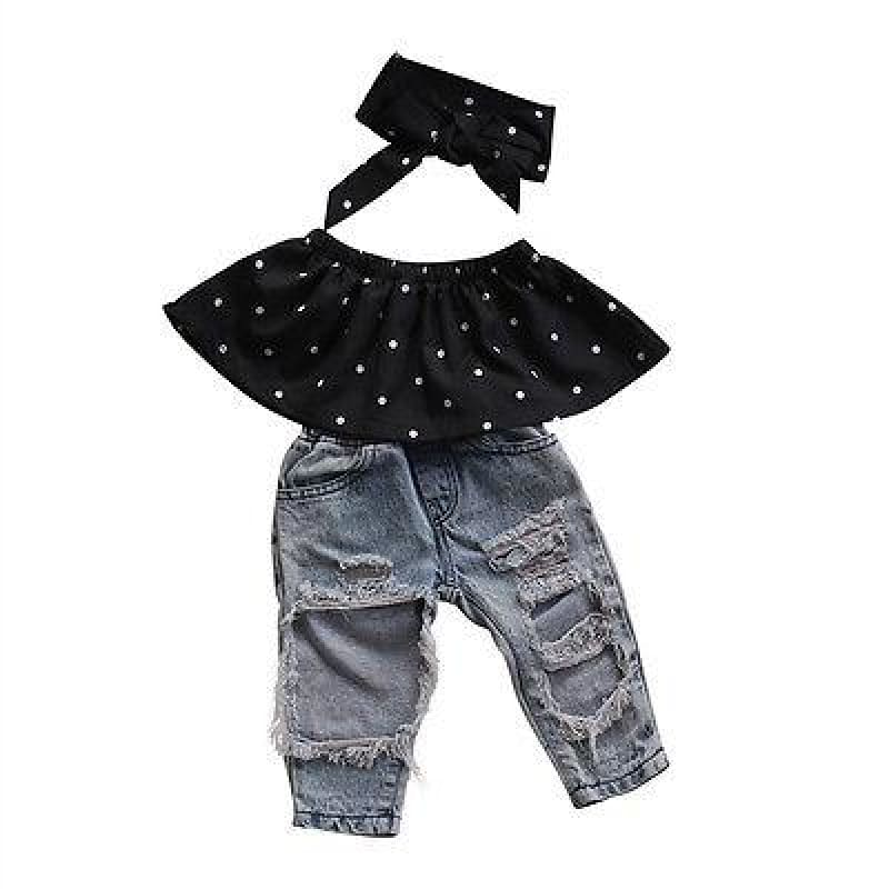 Baby Boutique Clothing Toddler Polka Dot 3 Pc. Denim Jeans Outfit Set | Baby Girl Infant Set