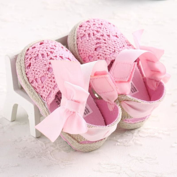 Baby Boutique Fashion Crochet Espadrille Infant Crib Shoes - Pink | Baby Shower Gift Idea | Baby Espadrille Shoe