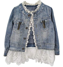 Baby Boutique Fashion Denim + Lace Toddler Jean Jacket | Layering Jacket | Wear Over Leggings or a Sundress | toddler girls jean jacket