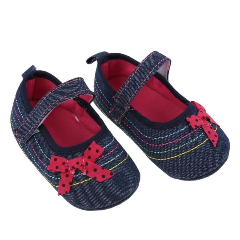 Baby Boutique Fashion Denim Mary Janes Infant Crib Shoes | Baby Girl Mary Janes Prewalkers