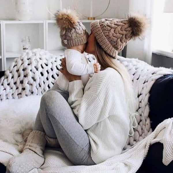 Baby Boutique Fashion Mommy & Me Clothes Faux Fur Pom Pom Cable Knit Beanies Hats Set | Mother/Daughter Gift Idea | women's beanies