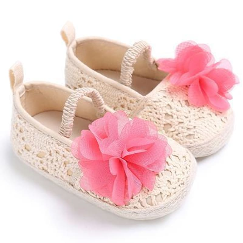 Baby Boutique Fashion Shower Gift Ivory + Pink Floral Crochet Mary Jane Espadrille Baby Crib Shoes | Baby Espadrille Shoe