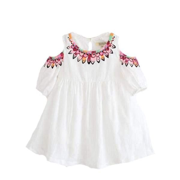Baby Boutique Faux Embroidery Cold-Shoulder White Dress | White Toddler Dress