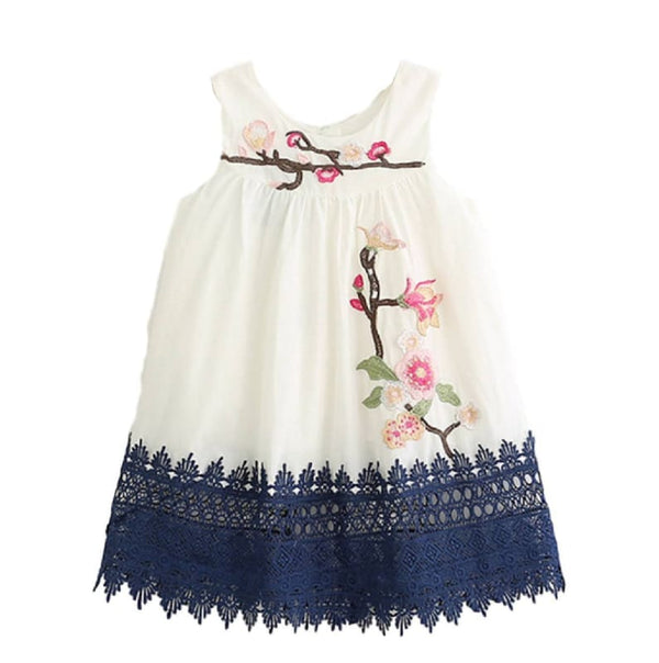 Baby Boutique Floral Embroidery Sleeveless Summer Party Dress - Ivory | baby girl toddler dress