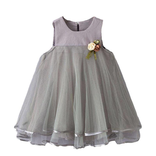Baby Boutique Grey Floral Embellished Party Dress Photo Shoot Holiday | toddler party dress