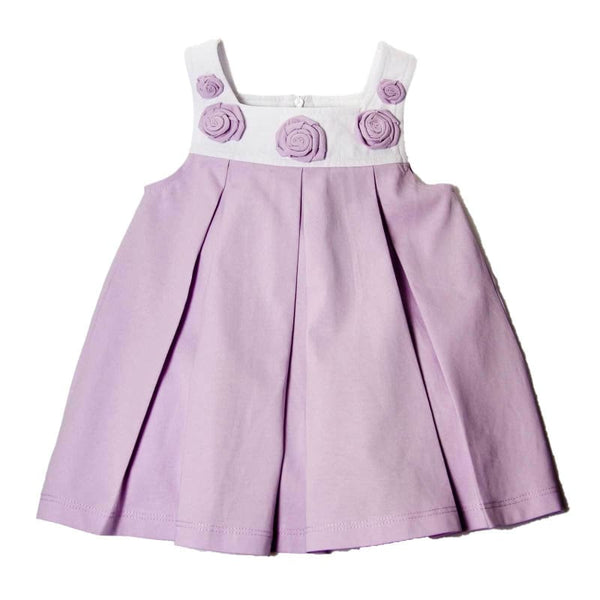 Baby Boutique Lavender + White Cotton Spring/Summer Party Birthday Easter Dress with Rose Petal Embellishment Fully Lined | Baby Dress