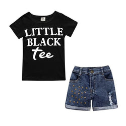 Baby Boutique Little Black Tee Jean Shorts Outfit Set | toddler girls jean shorts set