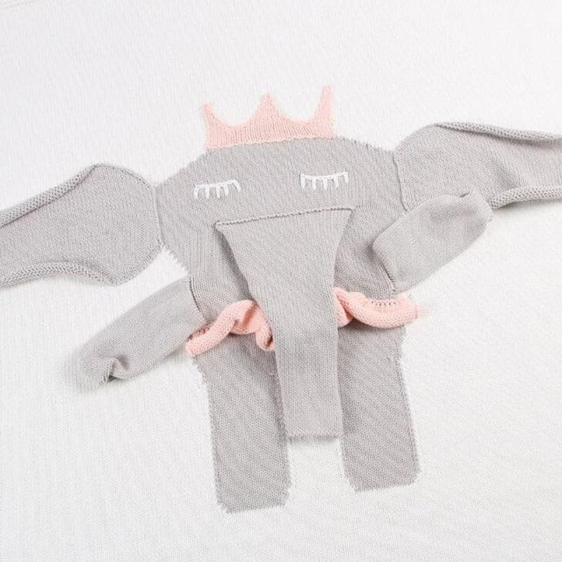 Baby Boutique Nursery Decor | Baby Shower Gift Idea | Elephant Baby Blanket Photo Prop | Knitted Baby Blanket