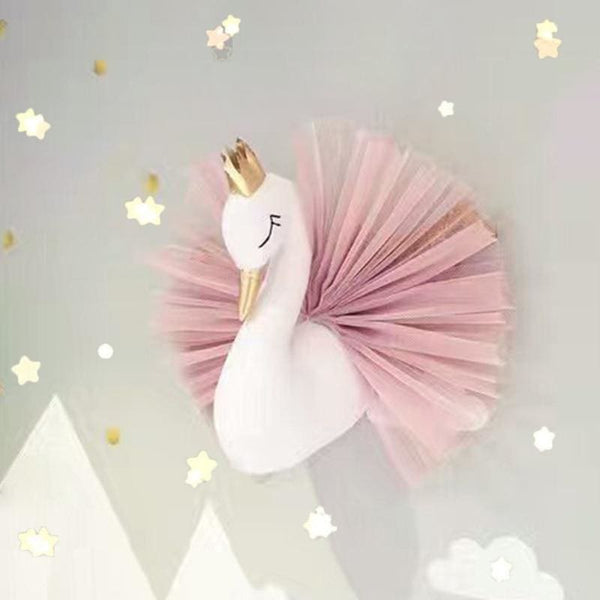Baby Boutique Nursery Decor Baby Shower Gift Idea Stuffed Swan Pink Tulle Wall Hanging | nursery 3D wall decor