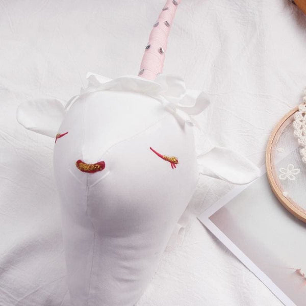 Baby Boutique Nursery Decor Baby Shower Gift Idea Stuffed Unicorn Head Wall Hanging - Pink | unicorn head 3D wall hanging