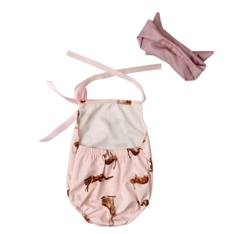 Baby Boutique One Piece Outfit Pale Pink Bunny Romper Photo Outfit | Baby Romper