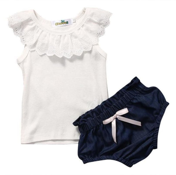 Baby Boutique Baby Shower Gift 2 Pc Baby Girl Infant Set White Eyelet Top + Chambray Shorts | Baby Girl Infant Set