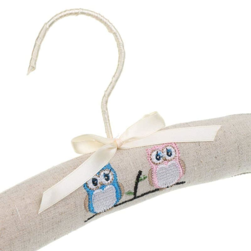 Baby Boutique Shower Gift Embroidered Owl Padded Baby Hanger - Natural | baby nursery decor
