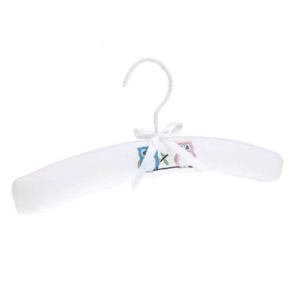Baby Boutique Shower Gift Embroidered Owl Padded Baby Hanger - White