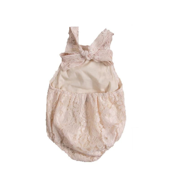 Baby Boutique Shower Gift Idea | Newborn Photo Prop Ideas | Lace Backless Romper Infant Sunsuit Outfit | baby girl romper