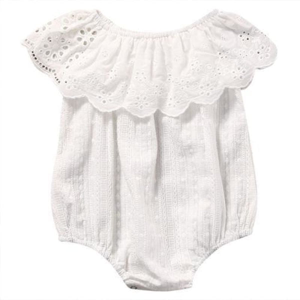Baby Boutique Baby Shower Gift One Piece White Eyelet Romper Sunsuit | baby girl romper onesie