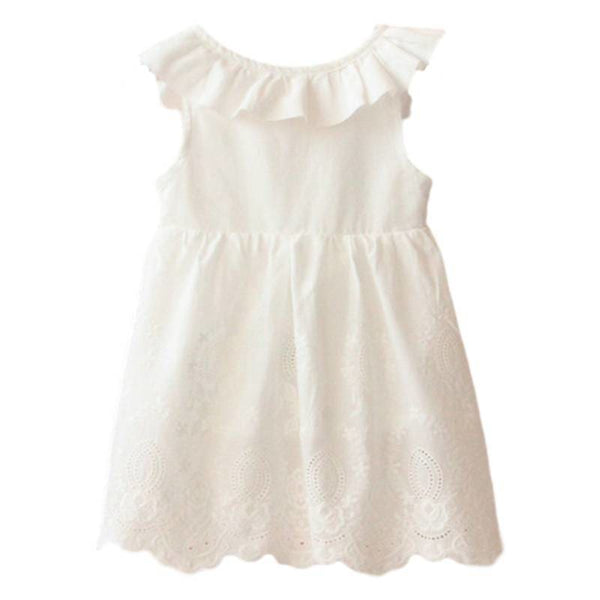Baby Boutique Sleeveless Ruffles White Eyelset Embroidery Dress | white eyelet toddler dress