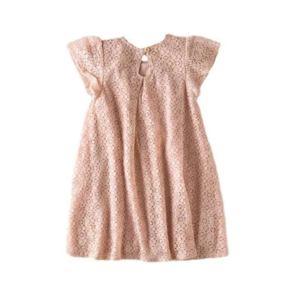 Baby Boutique Toddler Peach Lace Linen Cotton Summer Dress Fully Lined | Baby Girl Lace Toddler Dress