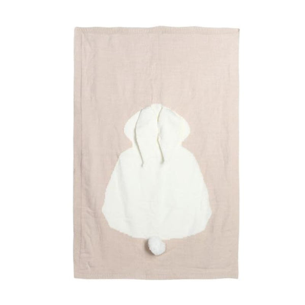 Baby Shower Gift Gender Neutral Bunny Blanket Beige Grey Navy Pink | Knitted Baby Blanket