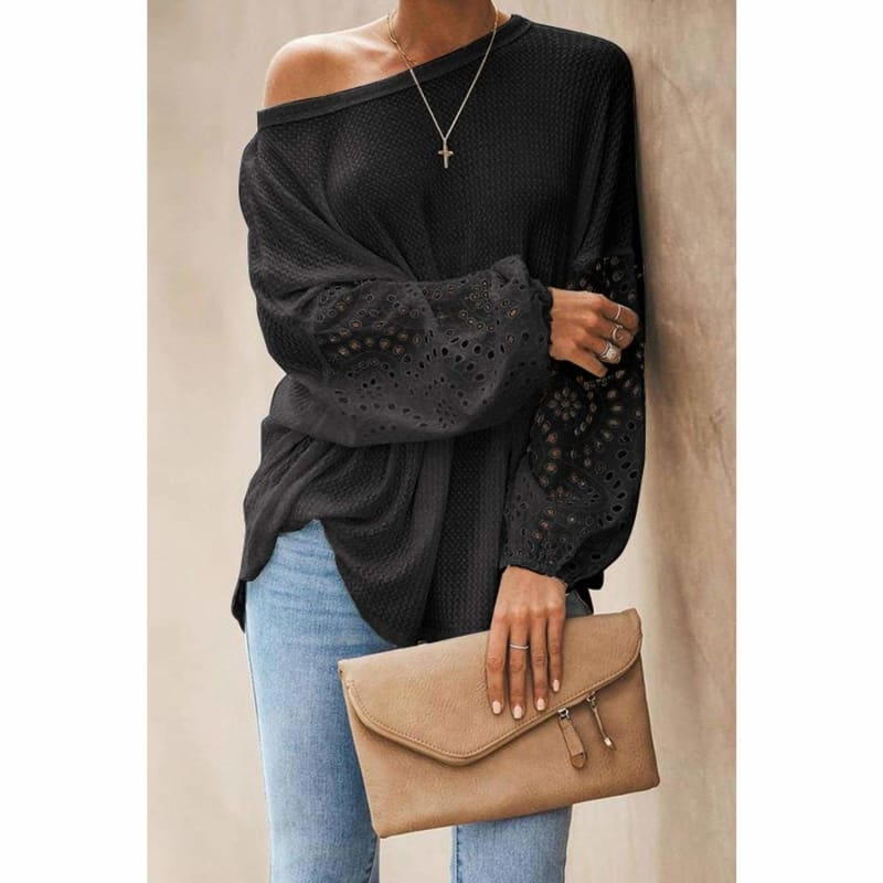 Black Loose Casual Puffy Statement Sleeve Blouse Cute Tops for Skinny Jeans | Long Sleeve Tops