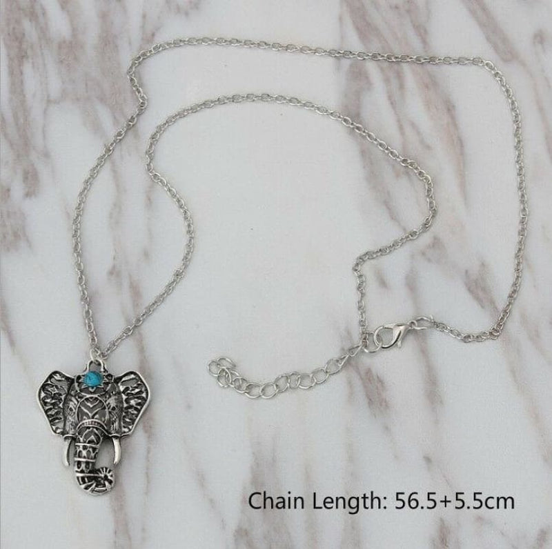 Boho Elephant Head Statement Necklace - Silver Vintage Boutique Style Jewelry | statement necklace