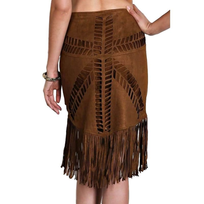 Boutique Fashion Boho Faux Suede Western Skirt with Cutouts + Fringe | women's skirt