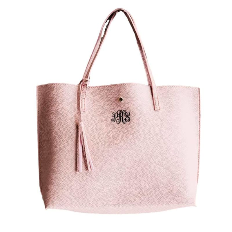 Boutique Fashion Gift Idea Personalized Monogram Roomy Tote Bag Purse Pink-Bronze-Blue-Black Vegan Faux-Leather | Monogrammed Personalized