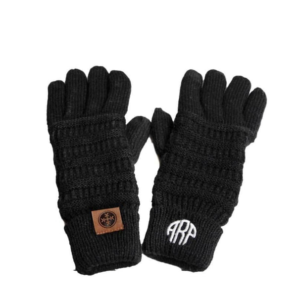 Boutique Fashion Holiday Christmas Gift Idea Luxe Personalized Monogram Knit Gloves | Monogrammed Personalized Products