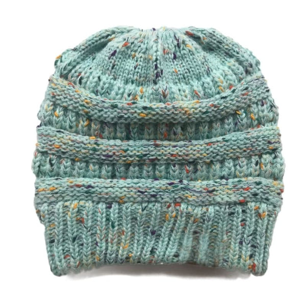Boutique Fashion Knit Winter Ponytail Beanie - Confetti Mint | women's beanies
