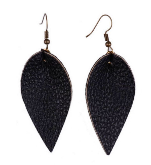 Boutique Fashion Light Pebbled Genuine Leather Earrings Casual Jewelry | Drop Earrings