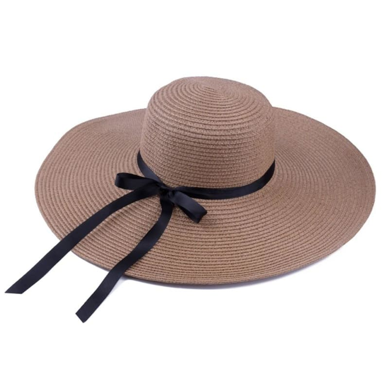 Boutique Style Resort Wear Foldable Packable Straw Beach Sun Hat for Pool or Beach Vacation | Wide Brim Beach Hat