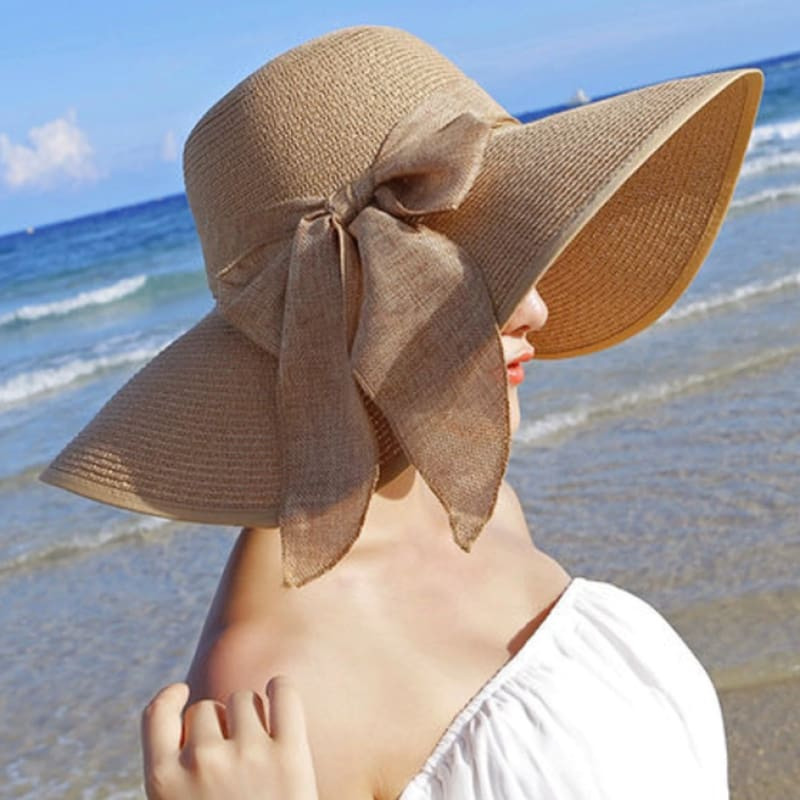 Boutique Style Resort Wear Foldable Packable Straw Beach Sun Hat for Pool or Beach Vacation | Floppy Straw Hat