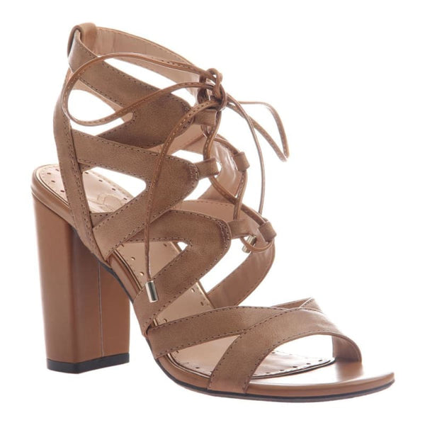 Brunette in Tan Heeled Sandals | Women's Shoes by MADELINE | WOMEN FOOTWEAR