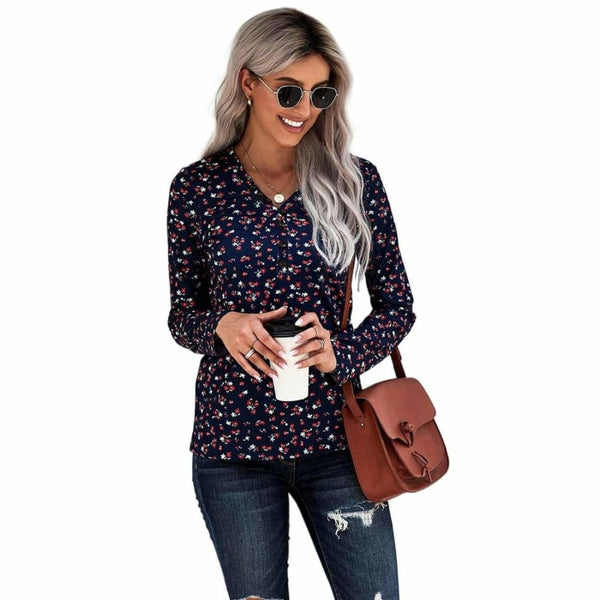 Button V Neck Long Sleeve Floral Henley Top | Long Sleeve Tops
