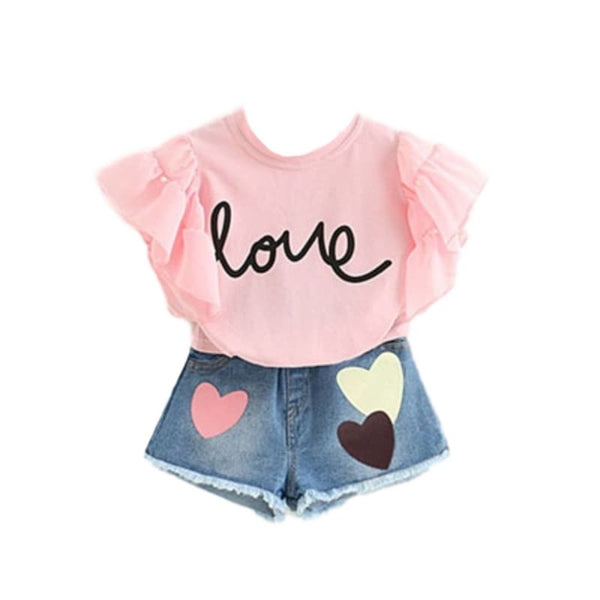 Children's Boutique Fashion Summer 2 Pc Jeans Shorts Set - Pink | baby girl toddler set