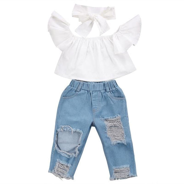 Children's Boutique White Off-Shoulder Top + Distressed Jeans 3 pc Outfit Set | toddler set