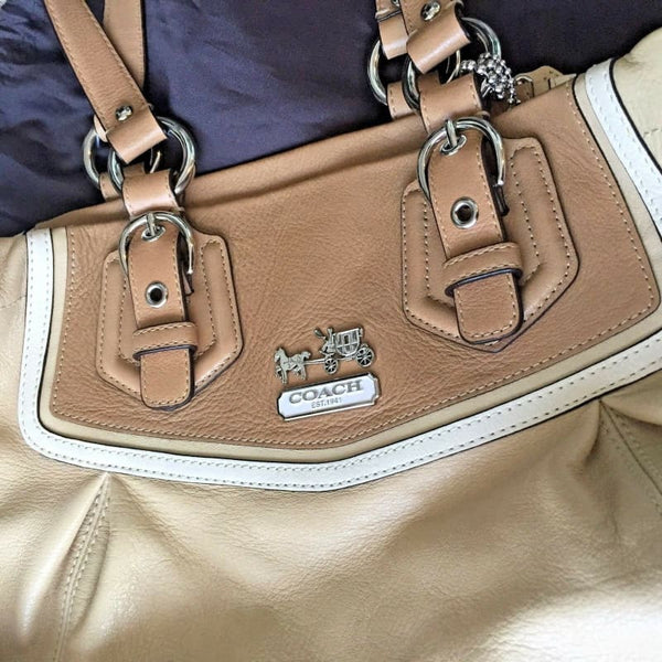 Coach Convertible Colorblock Leather Satchel Shoulder Bag Handbag Beige Tan Cream | shoulder bag
