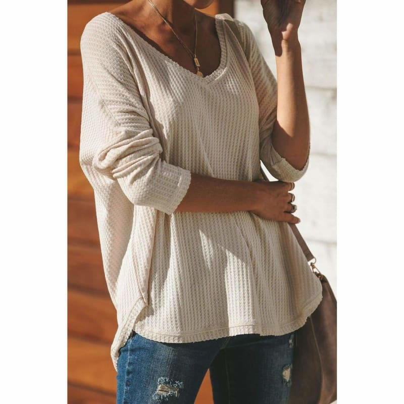 Cozy Thermal Knit Top Beige - Cute Tops to Wear with Jeans | Long Sleeve Tops