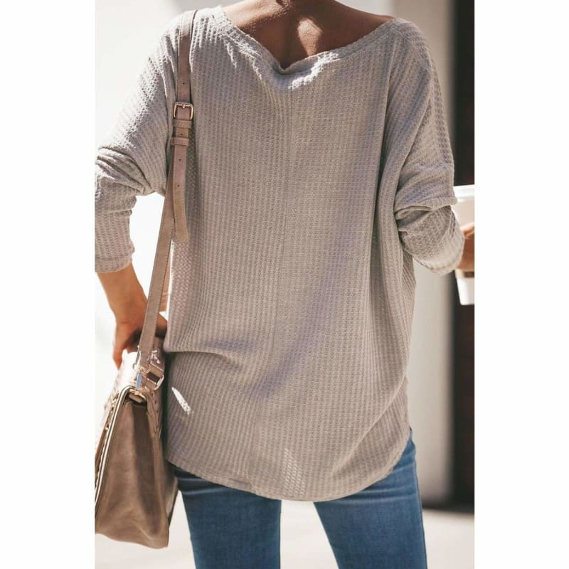 Cozy Thermal Knit Top Khaki - Cute Tops to Wear with Jeans | Long Sleeve Tops