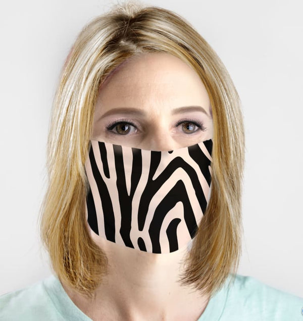 Cute Face Mask Fashion Boutique COVID-19 Washable Fabric Safari Zebra Animal Print Face Cover | Face Mask