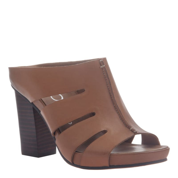 Delphine in Brown Leather Heeled Sandals | Women's Shoes by NICOLE | WOMEN FOOTWEAR